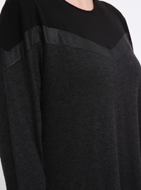 Black - Anthracite - Unlined - Crew neck - Cotton - Viscose - Plus Size Dress