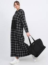 Black - Plaid - Unlined - Cotton - Plus Size Dress