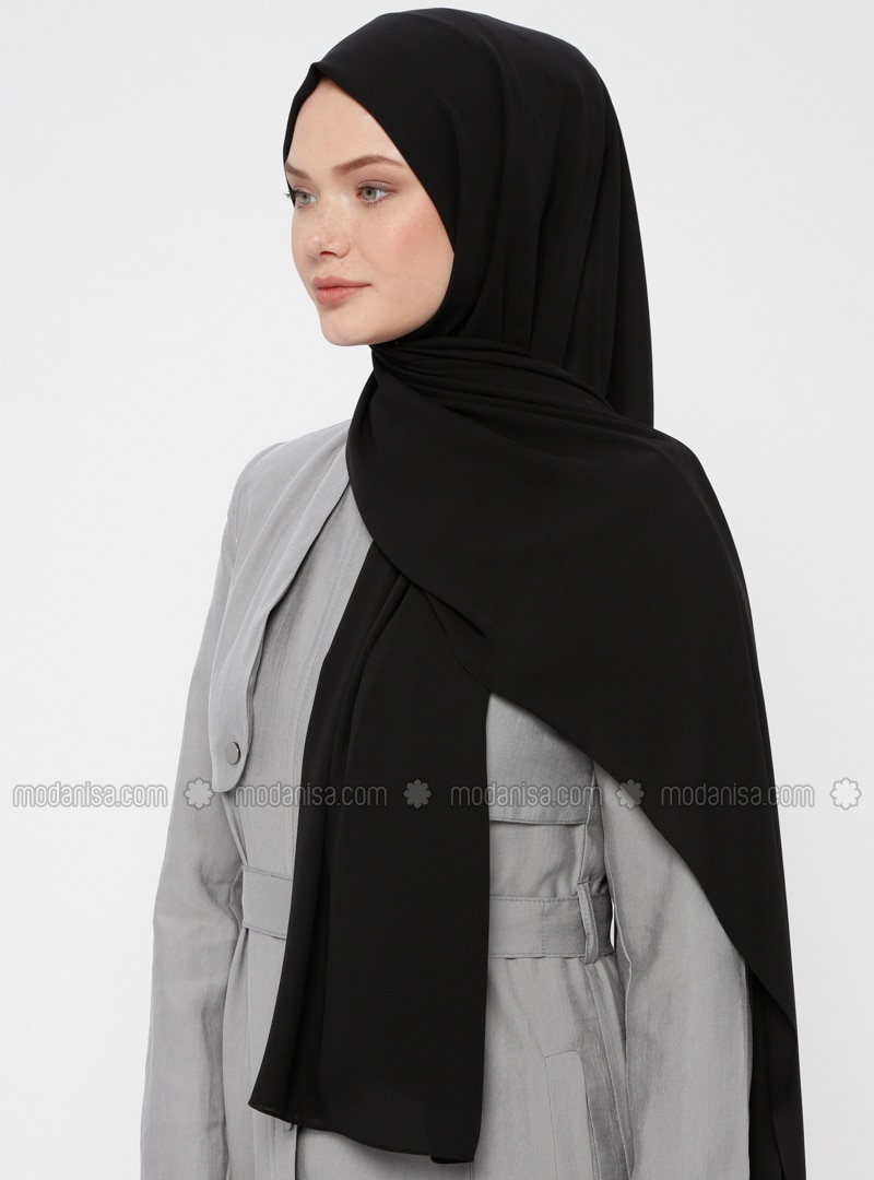 Black - Plain - Crepe - Shawl