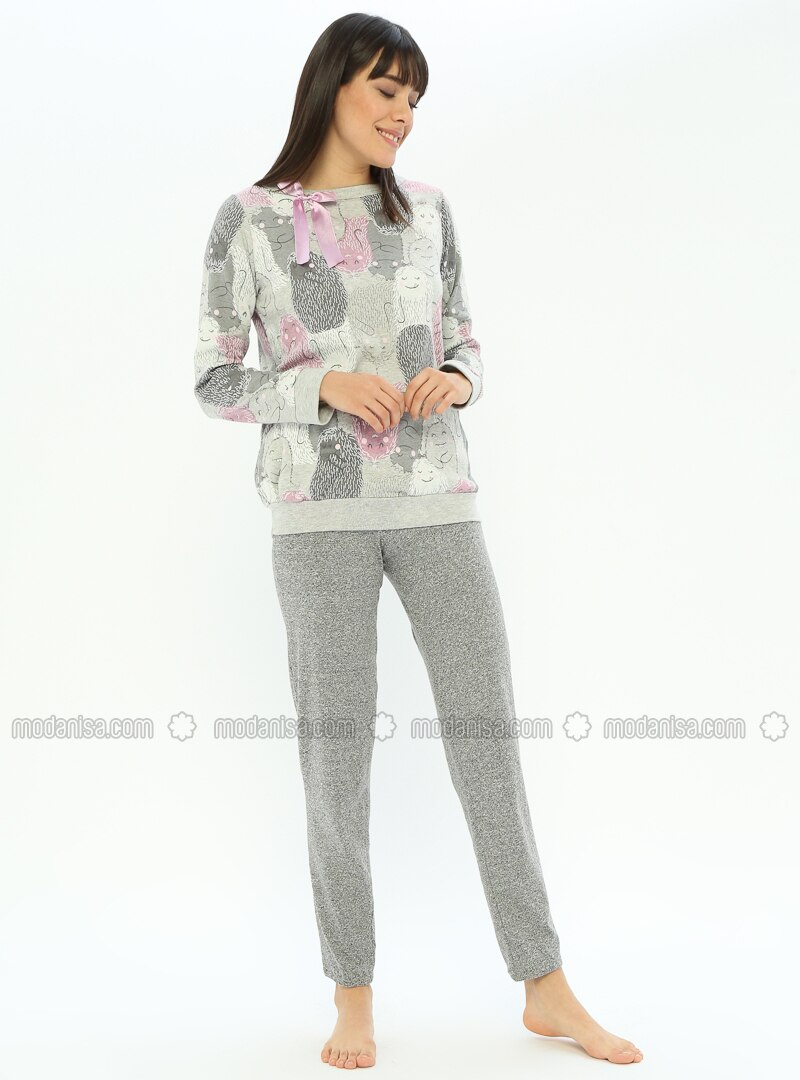 Gray - Crew neck - Multi - Cotton - Pyjama