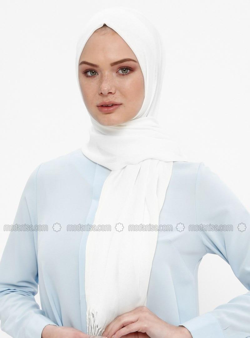 White - Ecru - Plain - Pashmina - Shawl