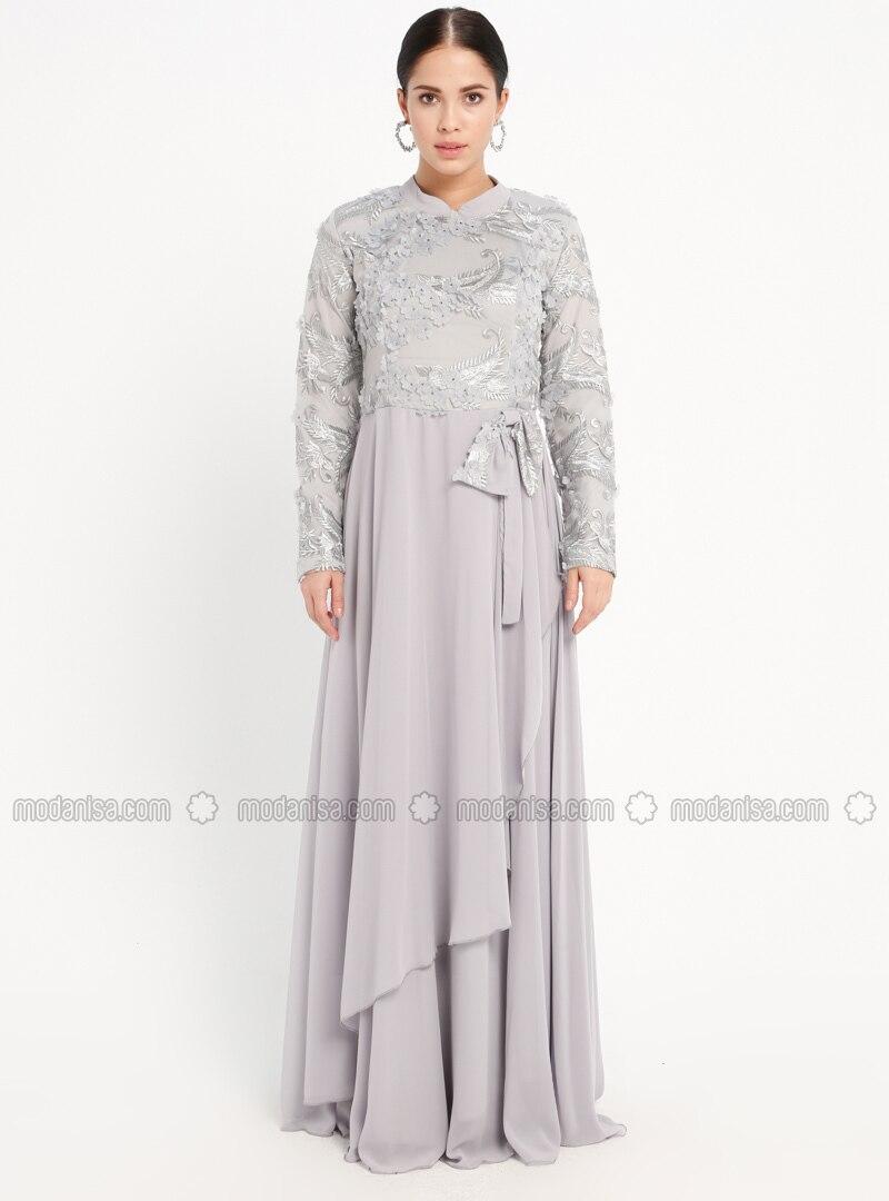 d06524649d5 MODANISA. Gray - Fully Lined - Crew neck - Muslim Evening Dress