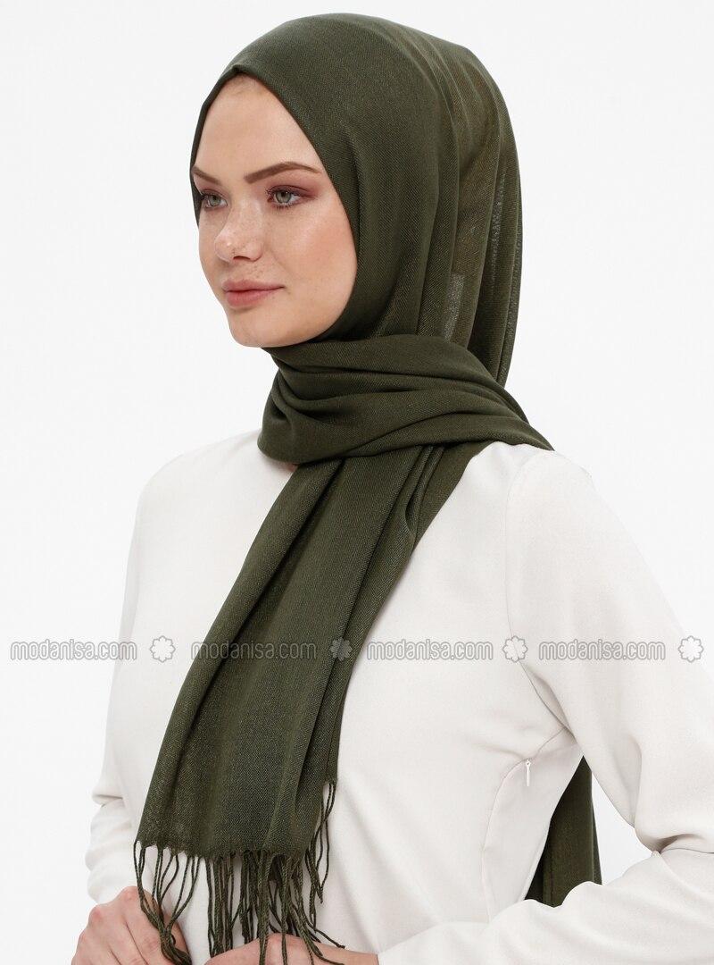 Khaki - Plain - Pashmina - Shawl