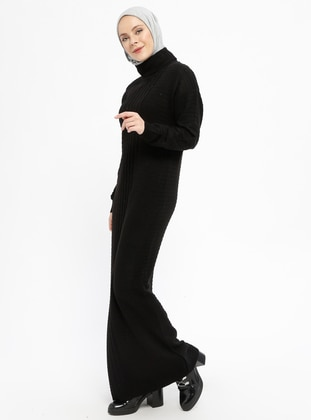 Black - Polo neck - Unlined - Wool Blend -  - Dresses