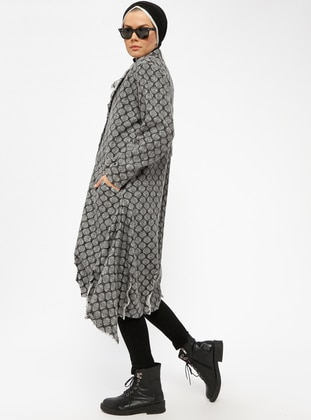 Gray - Unlined - Round Collar -  - Coat