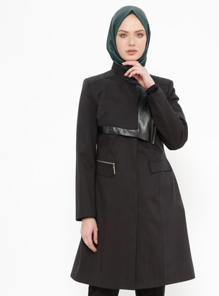 Black - Fully Lined - Crew neck - Cotton - Coat