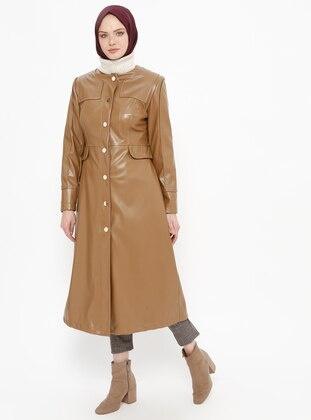 Tan - Fully Lined - Crew neck - Topcoat