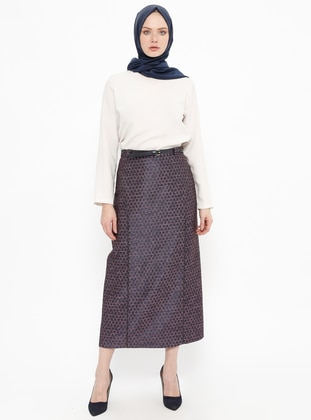 Purple - Multi - Fully Lined - Cotton - Skirt