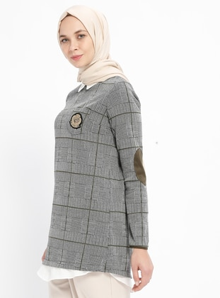 Khaki - Plaid - Point Collar - Tunic