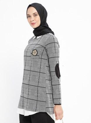 Black - Plaid - Point Collar - Tunic