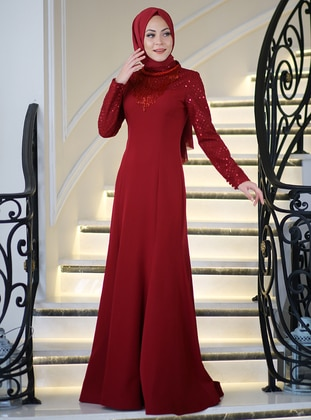 Maroon - Fully Lined - Polo neck - Muslim Evening Dress