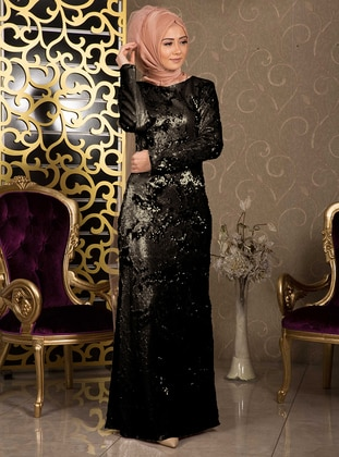 Black - Gold - Multi - Fully Lined - Crew neck - Muslim Evening Dress