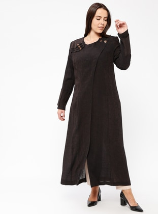 Black - Crew neck - Unlined - Plus Size Abaya