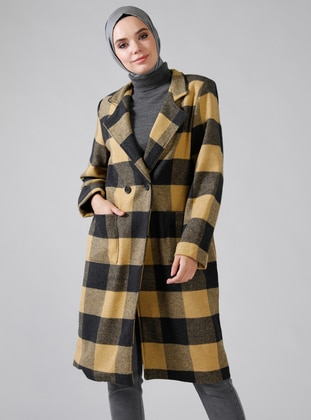 Black - Yellow - Plaid - Fully Lined - Shawl Collar - Topcoat