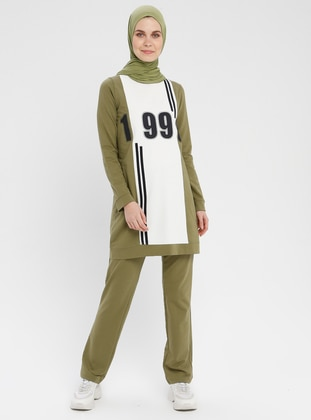 Olive Green - Multi - Crew neck - Tracksuit Set