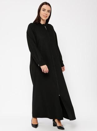 Black - Crew neck - Unlined - Plus Size Abaya