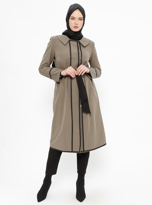 Khaki - Unlined - Point Collar - Cotton - Coat