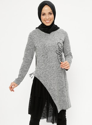 Gray - Crew neck -  - Tunic