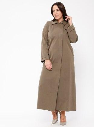Khaki - Fully Lined - Point Collar - Cotton - Plus Size Coat