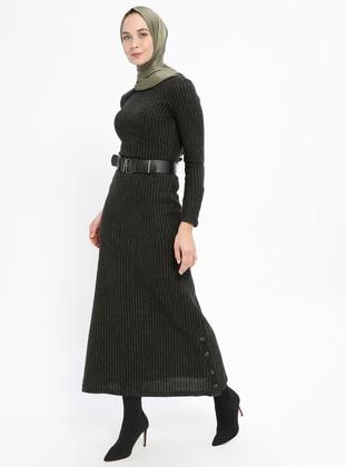 Khaki - Stripe - Crew neck - Unlined - Dresses