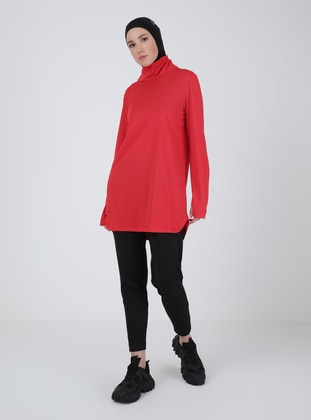Red - Polo neck - Tracksuit Top