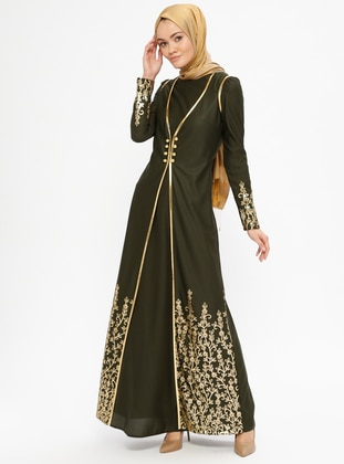 Khaki - Multi - Unlined - Crew neck - Muslim Evening Dress