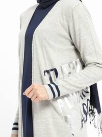 Gray - Stripe - Acrylic -  - Cardigan