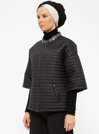Black - Fully Lined - Crew neck - Puffer Jackets