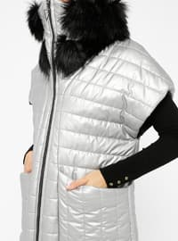 Gray - Fully Lined - Polo neck - Vest