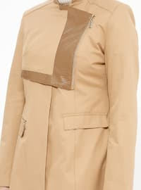 Camel - Fully Lined - Crew neck - Cotton - Coat