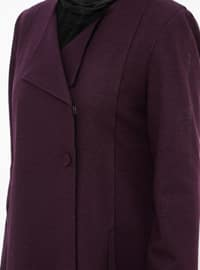 Plum - Fully Lined - Shawl Collar - Wool Blend - Topcoat