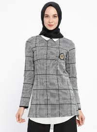 Black - Plaid - Point Collar - Tunic