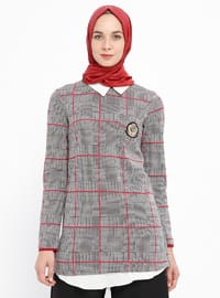 Red - Plaid - Point Collar - Tunic