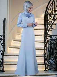 Blue - Fully Lined - Polo neck - Muslim Evening Dress