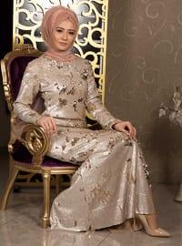 Gold - Cream - Multi - Fully Lined - Crew neck - Muslim Evening Dress