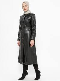 Black - Fully Lined - Crew neck - Topcoat