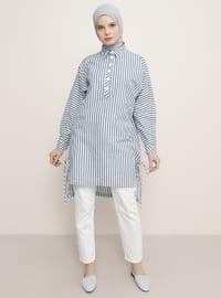 Navy Blue - Stripe - Point Collar - Tunic