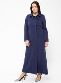 Navy Blue - Fully Lined - Point Collar - Cotton - Plus Size Coat