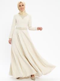 Beige - Fully Lined - Crew neck - Muslim Evening Dress
