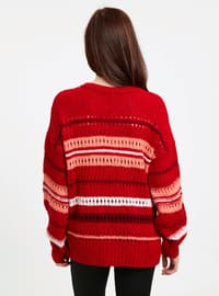 Red - Printed - Crew neck - Jumper