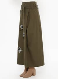 Khaki - Multi - Fully Lined - Skirt