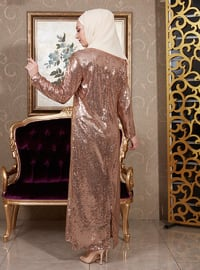 Brown - Gold - Fully Lined - Crew neck - Muslim Evening Dress