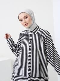 Black - White - Stripe - Point Collar - Tunic