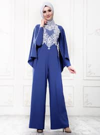 Blue - Unlined - Crew neck - Jumpsuit