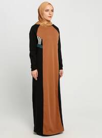 Black - Mustard - Multi - Crew neck - Unlined - Dresses