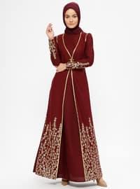 Maroon - Multi - Unlined - Crew neck - Muslim Evening Dress