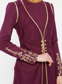 Plum - Multi - Unlined - Crew neck - Muslim Evening Dress