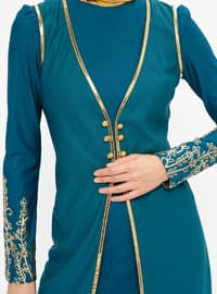 Petrol - Multi - Unlined - Crew neck - Muslim Evening Dress