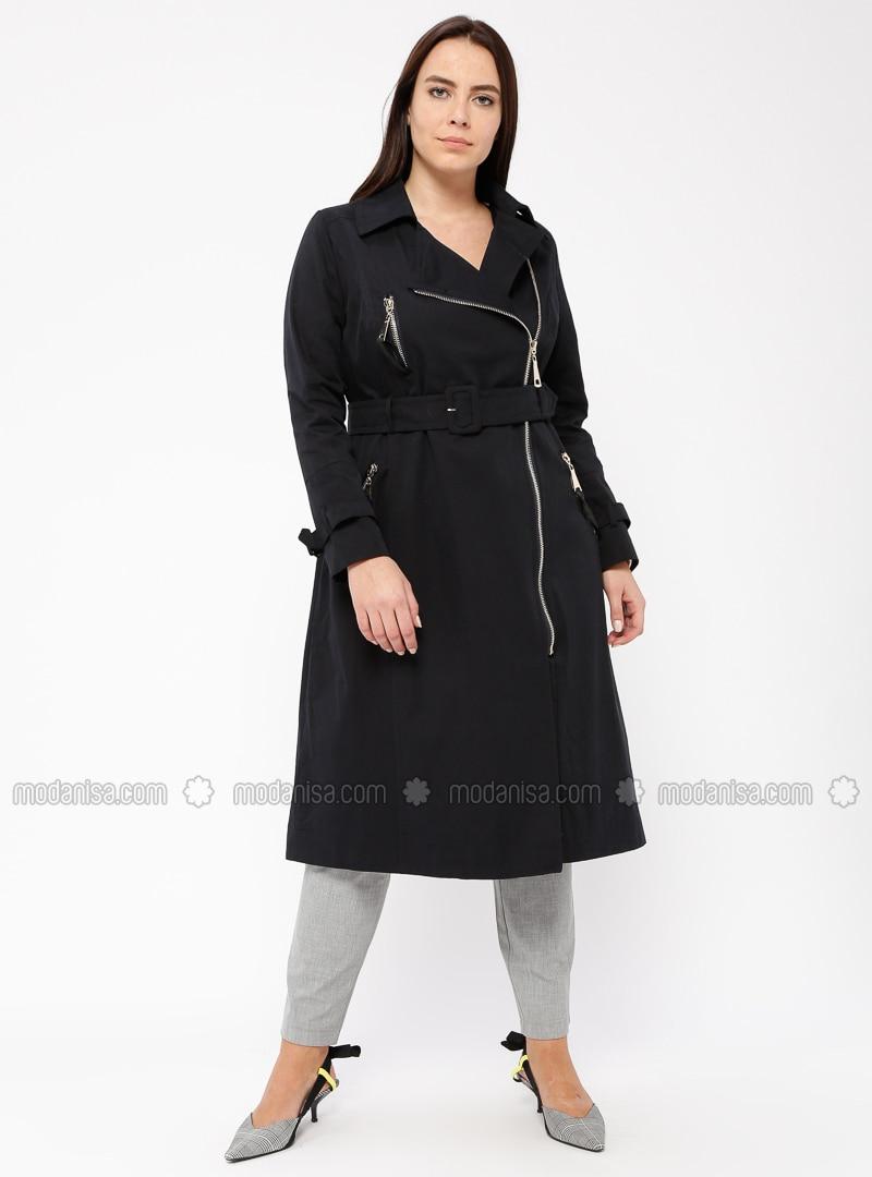 Navy Blue - Fully Lined - Cotton - Plus Size Overcoat