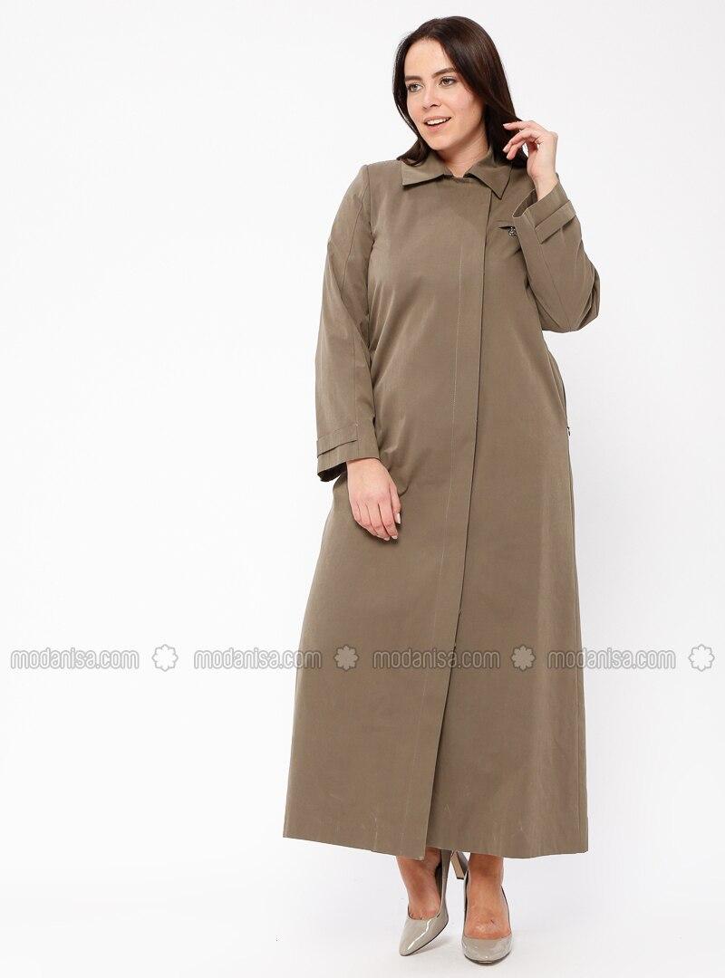 04ba4a13cad19 Khaki - Fully Lined - Point Collar - Cotton - Plus Size Coat. Fotoğrafı  büyütmek için tıklayın